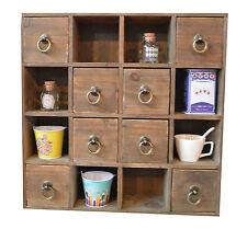 Multi Drawer Cabinet Wooden Shelf Storage Unit Distressed Furniture Office