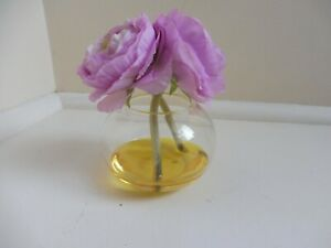 Peony hand-crafted faux floral arrangement, pink/purple flowers in glass vase
