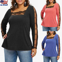 US Plus Size Women's See Thru Long Sleeve Lace Panel T-shirt Casual Blouse Tops
