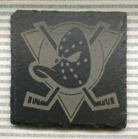 Premium Natural Slate Mighty Ducks Ice Hockey Team Logo Coaster Gift Set Movie