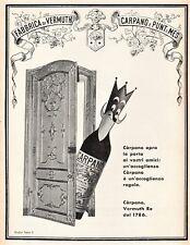 PUBBLICITA' 1957 RE CARPANO PUNT E MES VINO VERMOUTH  WINE BAR STUDIO A.TESTA