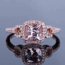 14K Rose Gold Cushion 6mm Real Morganite Natural Diamond Wedding Engagement Ring