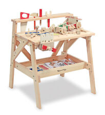 Large Boys Solid Wood Pretend Workbench with Tools Hardware Work Bench Set