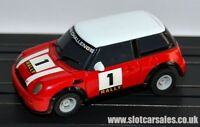 Micro Scalextric New shape BMW Mini Challenge #1 Red Rally HO Car fully serviced
