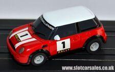 Micro scalextric nouvelle forme BMW Mini Challenge # 1 RALLYE ROUGE HO voiture pleinement assuré