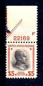 US Stamps - #834 - MNH - $5  Calvin Coolidge Issue  - CV $75 - Plate # Single