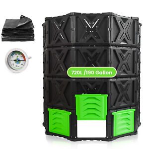 SQUEEZE master Large Compost Bin Outdoor-720L /190Gallon-Easy Assembly No Screws