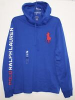 Polo Ralph Lauren Mens Blue Red Big Pony Hoodie L/S Cotton T-Shirt NWT Size M