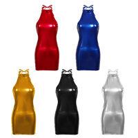 Women's Halter Sleeveless Patent Leather Bodycon Clubwear Party Sexy Mini Dress