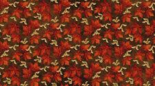 1 Yard Cotton Fabric - Northcott Stonehenge Maplewood Autumn Maple Leaves Brown