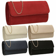 Womens Patent Leather Faux Red Suede Velvet Ladies Evening Party Prom Clutch Bag