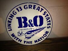 VINTAGE LARGE 40'S STYLE B+O RAILROAD SIGN LINKING 13 GREAT STATES CONDUCTOR