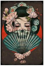 Death Becomes Her by Amy Dowell Fine Art Print Japanese Geisha Skull Fan