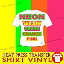 "4 roll 12""x5ft  NEON GREEN, YELLOW, ORANGE, HOT PINK  Heat Press T-shirt vinyl"