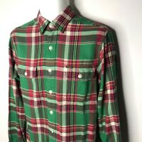 Vintage Polo Ralph Lauren Plaid Flannel Shirt Small Green Button Mens Pocket Red