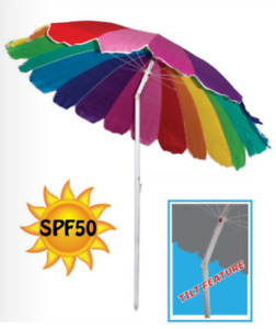 Copa 6 ft TNT Rainbow Beach Umbrella with Tilt Feature (random colors)