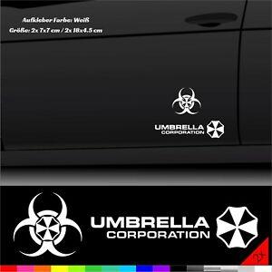 Umbrella Corporation Aufkleber Fahrzeug Heckscheibe Sticker Weiß 2x 7x7/18x4 cm