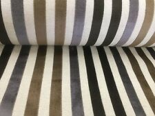 "Charleston Earth Cut Velvet Stripe Beige/Cream/  140cm/54"" Curtain/Craft Fabric"