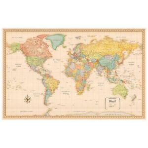 World Map Retro Prints Large Cloth Maps Poster Decor Educational P4