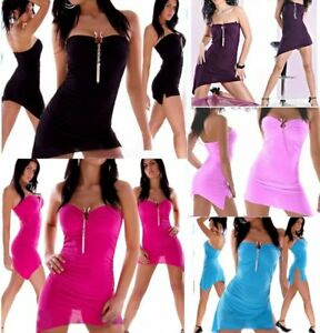 ♥ Sexy Miss Bandeau Mini Kleid Girly GoGo Dress TOP Silber Snake Schnalle XS-S