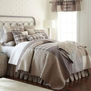 Donna Sharp Smoky Square Quilted Country Cotton Full/Queen 3-Piece Bedding Set