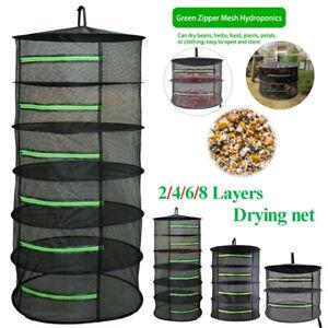 24in 2-8 Layer Fishing Net Herb Drying Folding Dryer Tray Flowers Hanger Mesh B