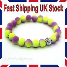 Shamballa Beads Bracelet 8mm Neon Stretch Yellow Purple Ladies Girls Gift