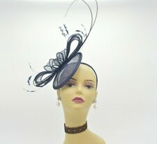 SF542 ( Navy )Kentucky Derby Church Wedding Easter TeaParty Sinamay Fascinator