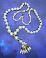 Vintage Faux Pearl Necklace with Tassel 30 Inches Gold Tone Accents