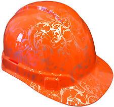 Hard Hat Hi Vis Orange Lilies w/ Free BRB Customs T-Shirt