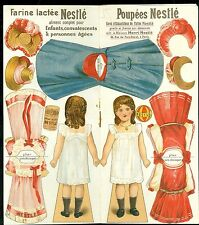 c1920 Farine Lactee Poupees Nestle Advertising Paper Doll  w 3 Costume 4 Hats