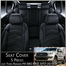 Black 5 seats PU Leather Seat Covers suits Ford Ranger PX MK1 MK2 MK3 2012-2020