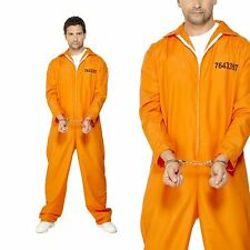 Smiffys Adult Men's Escaped Prisoner Costume Boiler Suit Cops and Robbers Ser
