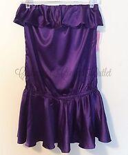 Rachel Lym NEW Resort Wear Strapless Swim Cover-Up Dress Ruffle Purple Large  A3