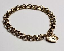 9ct Rose & Yellow Gold Vintage Albert Padlock Charm Bracelet (15.30g)