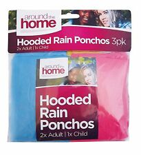 3 X HOODED RAIN PONCHOS COAT 2-ADULT 1-CHILD REUSABLE LIGHTWEIGHT WATERPROOF