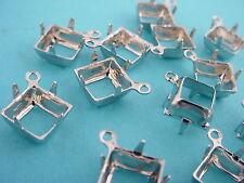 18 Silver Tone Square Prong Settings 8mm 1 Ring Open Backs