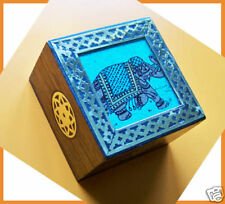 UNIQUE GEMSTONE PAINTING WOOD PAPERWEIGHT/BLOCK FROM INDIA!!