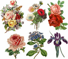 SHIP FROM NY- Set of 6 Vintage Floral Temporary Tattoo --
