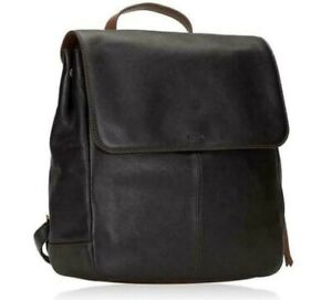 Fossil Claire Black Leather Backpack SHB1932001 NWT $178 Retail Brass Hardware