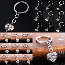 Heart Keyring Keychain Key Chain Crystal Rhinestone Jewelry Mom Dad Aunt Friend