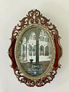 Gold Red Enamel Rhinestone Embellished Picture Photo Frame Oval New w/o box