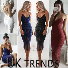 UK Womens Strappy Lace Ladies Midi Tassel Fringe Summer Party Dress Size 6-14