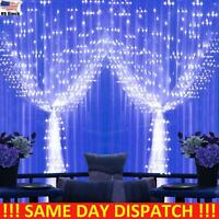 300 LED Curtain Fairy Lights Indoor/Outdoor Wedding Party Christmas Home Decor