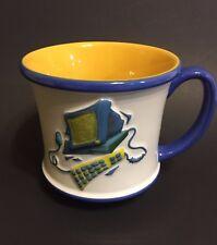 Computer Geek Mug Coffee Tea Blue Yellow Novelty Gift Secretary Boss