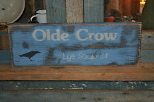 Blue Chippy Paint Olde Crow Lye Soap Distressed Wood Sign Primitive Folk Art
