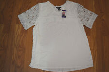 Womens Adrianna Papell Size Small White Lace Top Short Sleeve Shirt