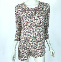 LOGO Lori Goldstein Asymmetric Hem Printed Tunic Top Stretch 3/4 Sleeve Women S