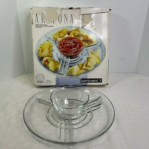 Cristal D'Arques-Durand Luminarc Arizona 13 inch Glass Serving Platter W/ Bowl