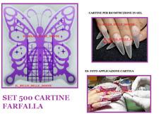 500 NAIL-FORM CARTINE FARFALLA LILLA  RICOSTRUZIONE BUTTERFLY UNGHIE GEL UV